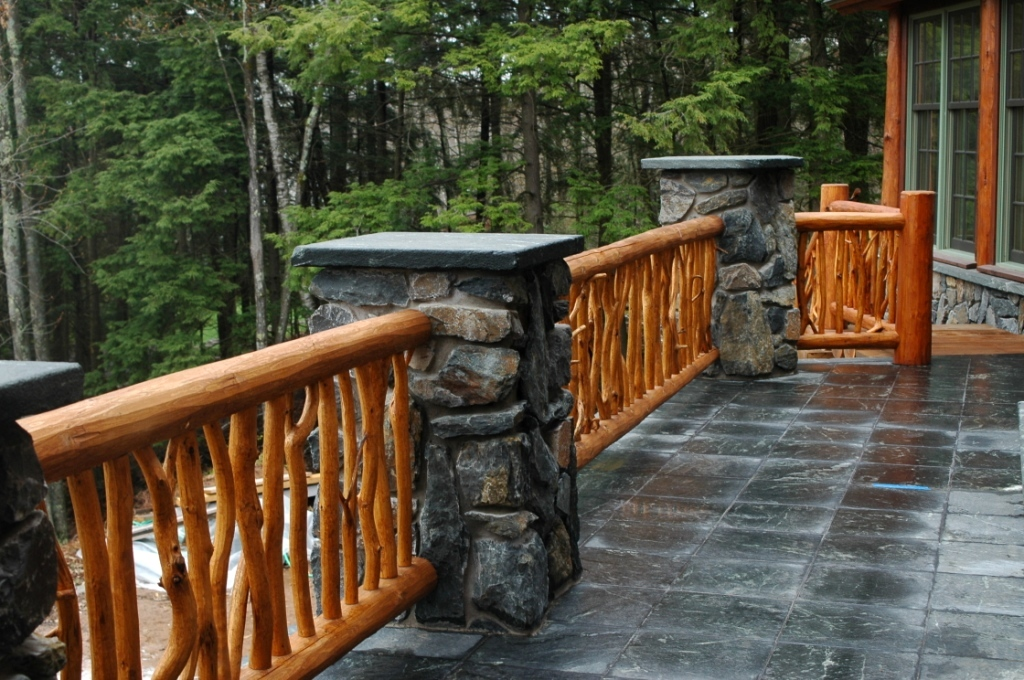 Railing systems and stairs the natural log homes for Log home decks
